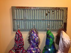 DIY coat rack made out of an old Charleston shutter