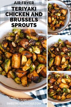 Air Fryer Teriyaki Chicken and Brussels Sprouts – Sweetpea Lifestyle Air Fryer Teriyaki Chicken and Brussels Sprouts is a low carb quick and easy dinner recipe idea using three ingredients. This quick keto recipe can be made any busy weeknight! Air Fryer Recipes Low Carb, Air Fryer Recipes Breakfast, Air Fryer Dinner Recipes, Easy Dinner Recipes, Easy Meals, Weeknight Recipes, Easy Recipes, Low Carb Dinner Ideas, Summer Recipes