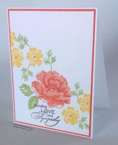 Love & sympathy, Stippled Blossoms Stampin Up sets, card by GingerStamps