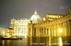 St. Peter's Basilica and the Colonnade by Gian Lorenzo Bernini at night, Vatican