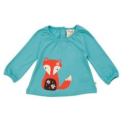 Buy Frugi Baby Long Sleeved Fox Top, Aqua Online at johnlewis.com