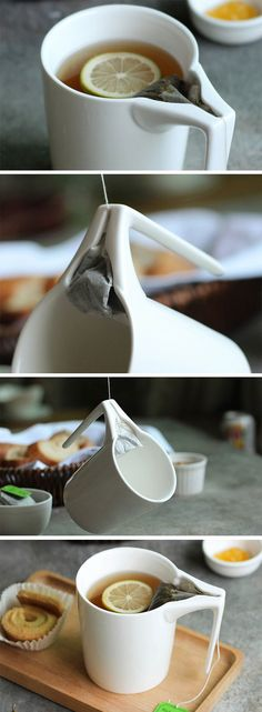 The Creative Ceramic tea mug has an innovative handle that comes with a small space for the tea-bag to retract into. Not just that, it even squeezes the bag, allowing every bit of flavor out of the leaves, and leaving you with a brew that's ready to drink Pottery Mugs, Ceramic Pottery, Ceramic Art, Mugs Sharpie, Mug Design, Pottery Designs, Ceramic Design, Tea Mugs, Kitchen Gadgets