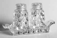 American Clear (Stem Mini Salt & Pepper W/Tray Set by Fostoria Fostoria Glassware, Fostoria Crystal, Vintage Glassware, Square Cake Stand, Ice Cream Set, Fostoria American, Antique Glass, Salt And Pepper, Crystals