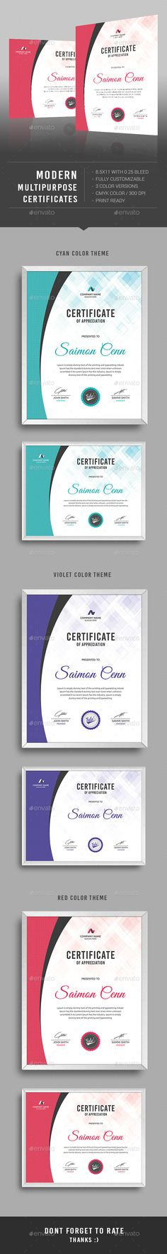 Certificate Psd templates, Certificate and Template - creative certificate designs