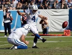 Colts vs. Titans  -  26-34, Colts:  October 23, 2016  -    Indianapolis Colts kicker Adam Vinatieri (4) kicks a 28-yard field goal against the Tennessee Titans in the first half of an NFL football game Sunday, Oct. 23, 2016, in Nashville, Tenn. Holding is Pat McAfee.