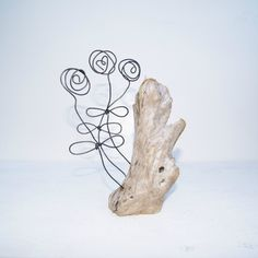 Flower driftwood and wire sculpture. Rose sculpture, hand crafted artisan sculpture. Wire work. Heart and flower sculpture. by ArtandImperfections on Etsy