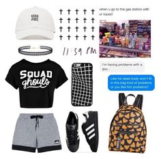 """""""Me in my squad~"""" by deep-quotes ❤ liked on Polyvore featuring adidas, LULUS, Circus by Sam Edelman and Boohoo"""