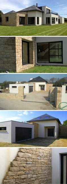 Pour cette maison darchitecte de style contemporaine réalisation de la maçonnerie pierre en moëllon
