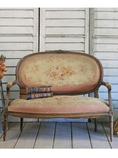 Antique Petite Louis XVI Oval Back Settee with Floral Upholstering