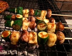 Baby marrow and halloumi cheese kebabs - Vegetarian alternative on the braai (barbecue) Kebabs, Halloumi, Vegetarian Recipes Easy, Barbecue, Zucchini, Vegetables, Alternative, Cheese, Food