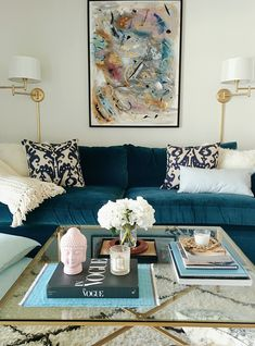 Velvet Sofa – Are They Durable, Practical and Easy to Clean? Do you love the latest Velvet Sofa looks but wondering if They're Durable, Practical [. Living Room Paint, Living Room Sofa, Rugs In Living Room, Home And Living, Living Room Designs, Living Room Decor, Living Room Glass Table, Blue Velvet Sofa Living Room, Blue Sofas