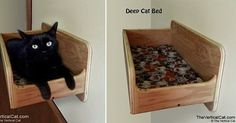 New Wall Mounted Deep Cat Bed from The Vertical Cat #catsdiyshelves #catsdiybed