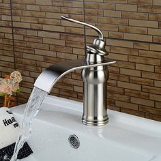 Wovier Brushed Nickel Waterfall Bathroom Sink Faucet,Single Handle Single Hole Vessel Lavatory Faucet,Basin Mixer Tap