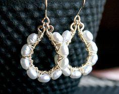 Handmade pearl earrings, white freshwater pearls, 14k gold filled, wire wrapped, dangle hoop earrings, Mimi Michele Jewelry
