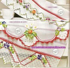 CROCHE COM RECEITAS: Panos de copa com lindos barrados em croche