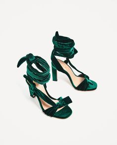 Image 6 of VELVET LACE-UP HIGH HEEL SANDALS from Zara