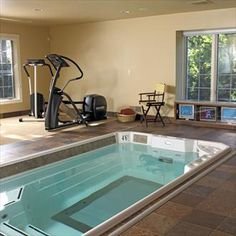 pool/workout room (That would be Awesome) Dream Home Gym, Gym Room At Home, Dream Home Design, House Design, Pool Workout, Workout Rooms, Garden Gym Ideas, Pool Ideas, Chill Out Room
