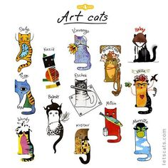 Art cats — famous artists as cats on Behance Crazy Cat Lady, Crazy Cats, I Love Cats, Cute Cats, Arte Pop, Here Kitty Kitty, Cat Drawing, Drawing Artist, Famous Artists