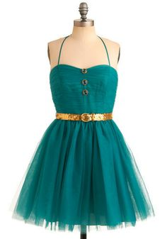 i'd want a slightly fuller/longer skirt on the dress but love it! the gold with the teal is to die for.