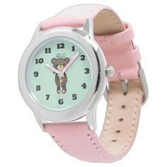 Cute Brown Bear with Yellow Flower Wrist Watch - flowers floral flower design unique style