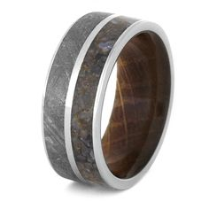Mens Meteorite Wedding Band With Whiskey Barrel by jewelrybyjohan
