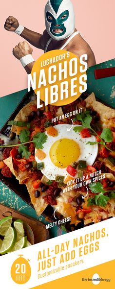 Luchador's Nachos Libres will have everyone fighting over the last chip instead of the big game. Simply add an egg, chorizo sausage and poblano peppers to basic nachos to take finger food to the next level. Cook the proteins in a skillet for an easy way t Mexican Appetizers, Mexican Food Recipes, Vegetarian Recipes, Cooking Recipes, Appetizer Recipes, Appetizer Dishes, Mexican Cooking, Game Recipes, Cooking Games