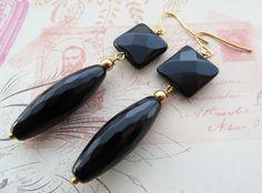 Orecchini pendenti a goccia con onice nero, gioielli fatti a mano pietre dure