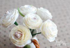 paper flowers - ivory white ranunculus.