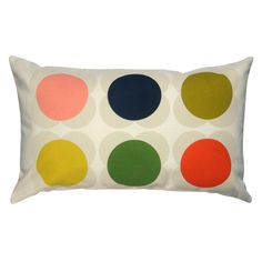 Orla Kiely: Long cushion with 'Single Spot Flower' print for children. Pink back. Zip to close. Wash as cotton; for further care instructions please see care label.