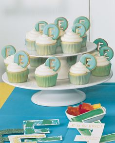 It's as easy as ABC to plan a party using the initial of the birthday child. Kids can help make the monogrammed cookies that adorn these cupcakes.