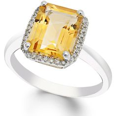 Citrine (2-2/3 ct. t.w.) and Diamond (1/10 ct. t.w.) Ring in 14k White... (45.340 RUB) ❤ liked on Polyvore featuring jewelry, rings, yellow, 14k diamond ring, emerald cut ring, citrine diamond ring, yellow ring and diamond rings