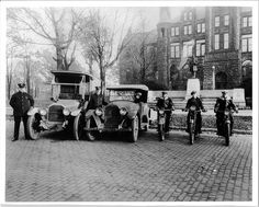 Muskegon PD (Michigan) police force with motocycles in Too bad Setcom didn't come into existence for another 50 years. They could have used some helmet communications systems back then.
