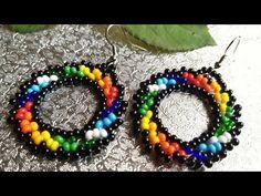 🌈 Beaded Rainbow Earrings 🌈 Multicolor Earrings - Y Seed Bead Jewelry, Bead Jewellery, Seed Bead Earrings, Seed Beads, Diy Jewelry, Beaded Jewelry, Jewelry Making, Dangly Earrings, Small Earrings
