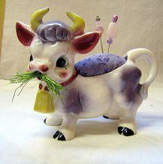 Purple Cow pin cushion