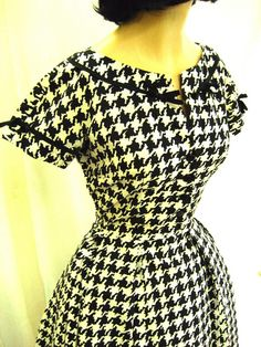 1950s Cotton Houndstooth Black & White Dress Day by tovasvintage