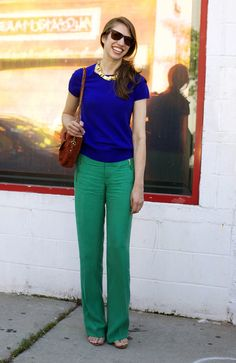 color combo. i have green pants like this...never thought to pair with a blue top!