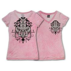 Pink S/S BURNOUT FLEUR DE LIS Garment Washed Tee~ $32.00 Shipped!  Sizes available~ SM MED LG XL XXL