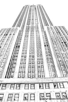 NYC Chysler Building Sketch 8x10 Abstract Drawing, New