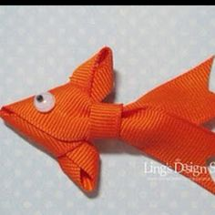 FISH DIY: Ribbon Goldfish by Vera Yates Ling for LoveMyTapes. Originally created as a greeting card emellishment, but would be so cute as a barrette for a fish-themed birthday party. DIY - includes full instructions and pictures. Diy Projects To Try, Crafts To Make, Fun Crafts, Sewing Projects, Crafts For Kids, Craft Projects, Arts And Crafts, Craft Ideas, Ribbon Crafts