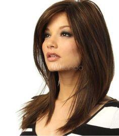 100% Real hair! New Golden brown Straight Partial bangs Human Hair Wig #NEW #FullWig