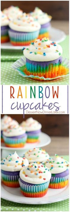 These Rainbow Cupcakes are made with a simple boxed white cake mix, colored, and layered to make a rainbow, with whipped cream cheese frosting on top!