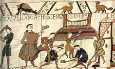 Bayeux Tapestry. Costume History: different colored hose, Gonelle, cloak, fibulae