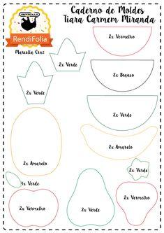 Tiara de Frutas em Feltro / Créditos: Marcella Cruz Veja logo após: molde gratuito LOL SURPRISE SLEEP Felt Diy, Felt Crafts, Fabric Crafts, Easy Crafts, Felt Fruit, Resident Assistant, Felt Books, Felt Patterns, Felt Flowers