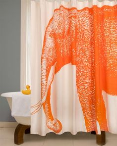 #orange  Orange Elephant shower curtain! Thomas Paul is genius.