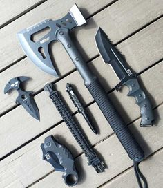 The MTech USA Camping Axe (model MT-AXE14) features black stainless steel construction and a black cord wrapped handle, with a 17.5-inch overall length. This tactical axe has a 6.5-inch axe head with a 3.5mm to 4mm thick cutting edge. The one-piece, black-coated stainless steel... Survival Gear, Tactical Survival, Survival Weapons, Tactical Knives, Survival Equipment, Tactical Gear, Knife Making, Cool Knives, Knives And Swords