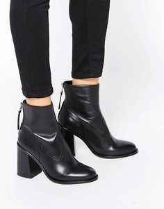 Image 1 ofNew Look Leather Zip Back Ankle Boot With Block Heel