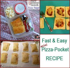fast and easy mini pizza pocket recipe for lunch boxes. Click HERE for more: https://www.facebook.com/photo.php?fbid=10151537865676978&set=pb.225441016977.-2207520000.1357445288&type=3&theater