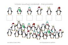WINTER PENGUIN #COUNTING WORKSHEET - FREE PRINTABLE