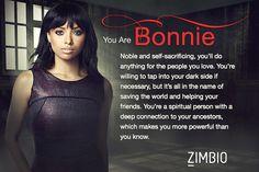 I took Zimbio's 'Vampire Diaries' quiz and I'm Bonnie! Who are you? #ZimbioQuiznull - Quiz