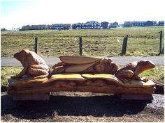 chainsaw carved benches | Chainsaw carved Frog themed Bench